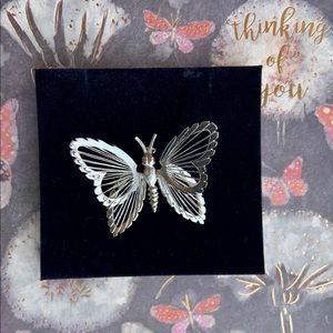 Vintage Monet silver tone butterfly brooch